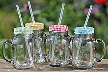 Flippi Party Becher 4 Stück Trinkglas mit Deckel