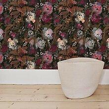 Flipside Tapete mit dunkelfarbenem Blumenmuster,