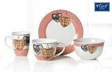 Flirt by R&B Frühstücksgeschirr Country Home rot Material 6er Set Jumbobecher Country Home ro