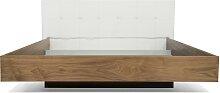 Float - Bett - 160x200  - Walnuss/ Weiß Kunstleder
