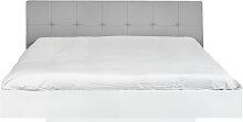 Float - Bett - 180x200 - Weiß/ Graues Kunstleder