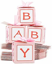 FLOFIA 50 Stück Taufe Geschenkbox Schachtel Taufe