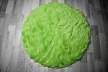 Flokati-Stil Hochflor Shaggy Teppich Ameiny Colours - In bunten Farben und kuschelweich (140 cm rund, Grün)