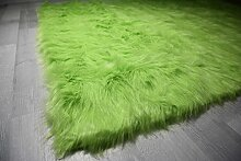 Flokati-Stil Hochflor Shaggy Teppich Ameiny Colours - In bunten Farben und kuschelweich (180 cm x 180 cm, Grün)