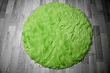 Flokati-Stil Hochflor Shaggy Teppich Ameiny Colours - In bunten Farben und kuschelweich (90 cm rund, Grün)