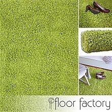 floor factory Hochflor Shaggy Teppich Loca grün 120x170cm - flauschiger und günstiger Langflorteppich