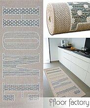 floor factory Läufer Home beige 80x200 cm - pflegeleichter Flachgewebe Teppich für drinnen und draußen