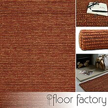 floor factory Moderner Designer Teppich Jute rot 120x170cm - handgewebter Teppich aus 100% Naturfaser