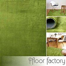 floor factory Moderner Teppich Pure grün 120x170