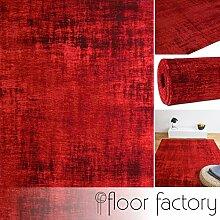 floor factory Moderner Teppich Vintage uni rot 155x230 cm - edler Designer Teppich im angesagten Shabby Chic