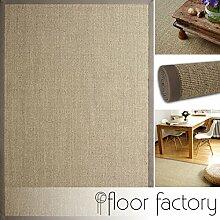 floor factory Sisal Teppich Taupe Grau 130x190 cm