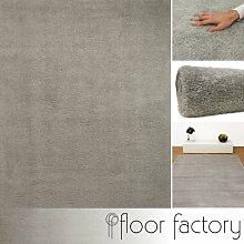 floor factory Weicher Hochflor Shaggy Teppich Privilege grau 160x230 cm - flauschiger Mikrofaser Langflorteppich