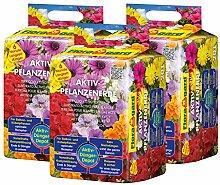 Floragard Aktiv-Pflanzenerde 3x20 L • Premium-Blumenerde für Balkon- und Kübelpflanzen • zum Pflanzen und Topfen • 6-Monate-Langzeitdünger • mit dem Naturdünger Guano • 60 L