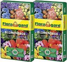 Floragard Blumenerde 2x50 L • Universalerde • für  Balkon-, Kübel- und Zimmerpflanzen • mit dem Naturdünger Guano • 100 L