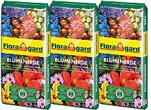 Floragard Blumenerde 3x20 L • Universalerde • für  Balkon-, Kübel- und Zimmerpflanzen • mit dem Naturdünger Guano • 60 L