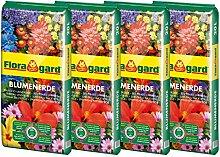 Floragard Blumenerde 4x20 L • Universalerde • für  Balkon-, Kübel- und Zimmerpflanzen • mit dem Naturdünger Guano • 80 L