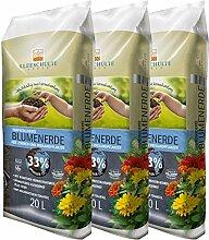 Floragard Kleeschulte Blumenerde torfreduziert 3x20 L • 33 % Klimavorteil • mit wertvollen nachwachsenden Rohstoffen • 60 L