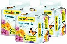Floragard torfreduzierte Blumenerde einfach leicht 3x40 L • Universalerde • mit 3-Monate-Langzeitdünger für Balkon-, Kübel- und Zimmerpflanzen • mit dem Naturdünger Guano • 120 L