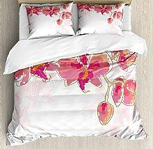 Floral 3 Stück Bettwäsche Set Bettbezug Set,