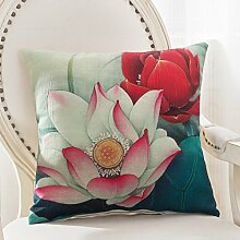 Floral Sofa Pillow,Pillow Cases With Core,Waist Cushion Of Office Waist-I 55x55cm(22x22inch)VersionB