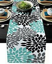Floraler Tischläufer, blaugrün, grau, schwarz,