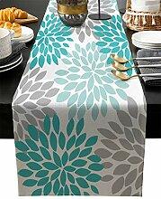 Floraler Tischläufer, blaugrün, grau, weiß,