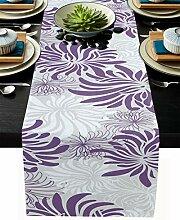 Floraler Tischläufer, grau-weiß, Baumwollleinen,