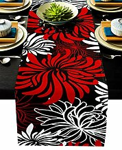 Floraler Tischläufer, rot, schwarz, weiß,