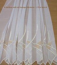 florentina Gardine Weiß mit farbiger Stickerei -