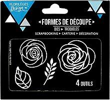 Florilèges Design fdd11706Werkzeuge Rosen Metall grau 11,5x 12,5x 0,2cm