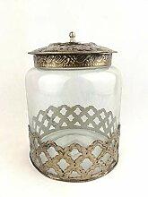 Florissima Glasdose mit Metallornamenten und