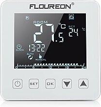 Floureon Raumthermostat Thermostat elektrische Heizung Touchscreen mit großen LCD-Display Temperaturregler Digital Smart Programmierbare Fußbodenheizung