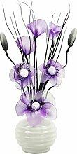 Flourish–723200- 813Kleine Vase mit Cadbury Lila/Weiß Künstliche Nylon Blume in Vase, Ornament, Home Zubehör, 32cm, viole