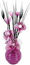 Flourish 813790042handbesprüht Vase mit lila/weißen Mini-Nylon-Blumen, Signal viole