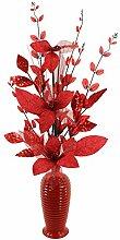 Flourish Rot mit Glitter Künstliche Blume in Rot