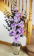 Flourish Silber Boden Vase mit lila Künstliche