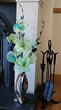 Flourish Silber Vase mit Grün Künstliche Blumen,