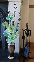 Flourish Silber Vase mit Hellen Grün Künstliche
