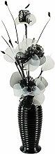 Flourish Vase mit 814 Nylon Weiß/Schwarz Blume aus Netzstoff, schwarz