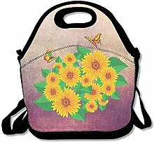 FLOWER Butterfly Insulated Lunch Box Tote Bag