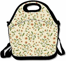 Flower Design Convenient Lunch Box Tote Bag Rugged