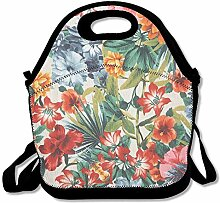 Flower Design Portable Lunch Box Tote Bag Rugged