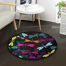 Flower Dragonfly Round Area Teppich für