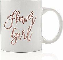 Flower Girl Kaffee Tasse Geschenkidee Hochzeit Party, Kunstleder Pink Glitter Little Girl Geschenk für Kind, Nichte, Best Friend Tochter, Junge Frau, Familie–Schöne 313ml Keramik Tee Tasse