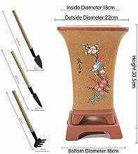 flower pot Nclon Frühling Lila Ton Blumentopf, Classic Chinesischer Stil Tray Punktfarbe Blumentopf Mit Gartenarbeit Werkzeuge Dreiteilige