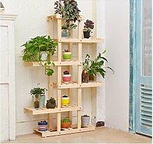 Flower racks-xin Massivholz-Blumen-Rack/Multi-Boden-Boden Blumenständer/Balkon Wohnzimmer Innenholz Holz Regal (Farbe : Holzfarbe)
