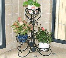 Flower racks-xin Mehrstöckiges Blumenregal/europäisches Blumentopfgestell/Blumenregal/Regal/Pflanze Rack (Farbe : Schwarz, Größe : 52*28*75CM)