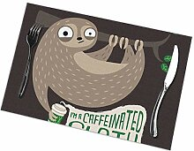 flowerlove Caffeinated Sloth Table Placemats for