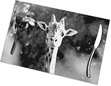 flowerlove Portrait of Giraffe Table Placemats for
