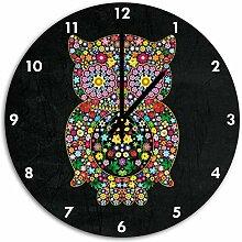Flowerpower Eule Schwarz, Wanduhr Durchmesser 48cm mit schwarzen spitzen Zeigern und Ziffernblatt, Dekoartikel, Designuhr, Aluverbund sehr schön für Wohnzimmer, Kinderzimmer, Arbeitszimmer
